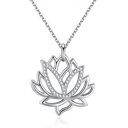 Friggem Flor de loto collar y colgante de plata esterlina con circonita plateada para mujeres y hombres, regalo del día de la madre