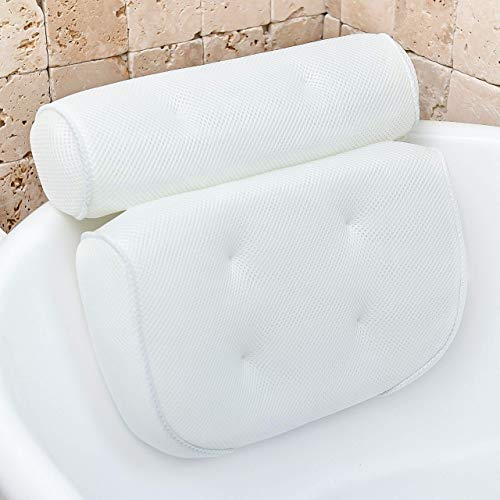 Bathtub Pillow for Neck and Shoulder: Spa Bathroom Accessories Bath Pillow for Bathtub with 6...