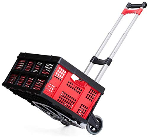 XGHW Shopping Trolley Kofferkuli Box, Folding Stiefel Warenkorb Legen Removable, hohe Tragfähigkeit 20kg Kapazität, Grocery Einkaufswagen Faltbare (rot)
