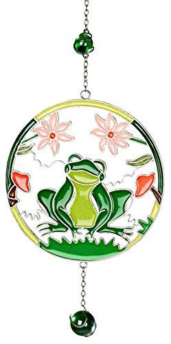 dekojohnson Moderne Deko für das Fenster-Hänger Fensterdeko Dekohänger Glasbild Tiffany Frosch Blumen Kreis Grün 28cm