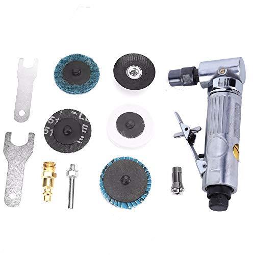 Amoladora de aire angular, amoladora de aire de ángulo comprimida 90 grados 3.18-6.35 mm Mini lijadora neumática con discos de lijado de bloqueo de rollo de 2 pulgadas