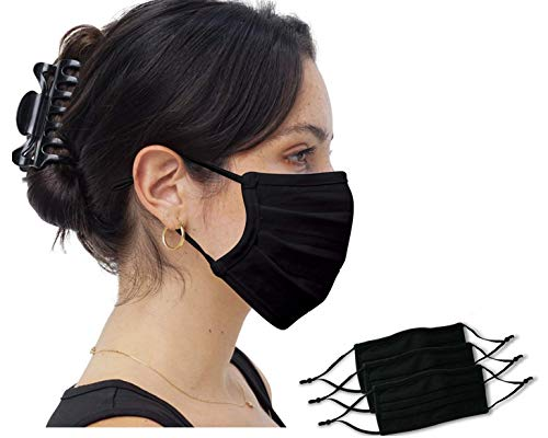 3 Pack Simlu Unisex Reusable Pleated Fabric Face Mask with Adjustable Elastic, 2 Layer, Washable, Nose Wire Black Face Mask for Men Women and Kids