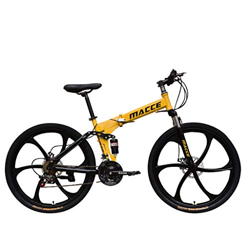 BallsFHK Bicycle Adult Mountain Bikes, 26 Inch Steel Carbon Mountain Trail Bike Frame Folding Bicycles 21 Speed ​​Gears Dual Disc Brakes Mountain Bicycle - US Stock (Yellow)