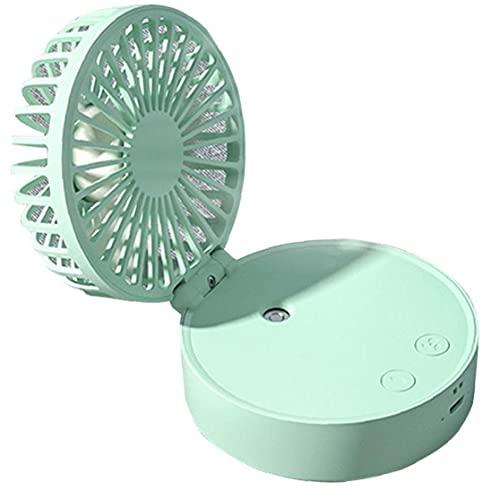 Hainice Ventilador portátil Plegable portátil de nebulización del Aerosol Colgando Ventilador con 2000 mAh de la batería de respiración Noche 7 Colores de luz para Escritorio del Dormitorio de