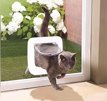 PETCUTE Chatière à Puce Chatière pour Chats de Verrouillage à 4 Positions Chatières pour Petit Animaux Facile à Installer