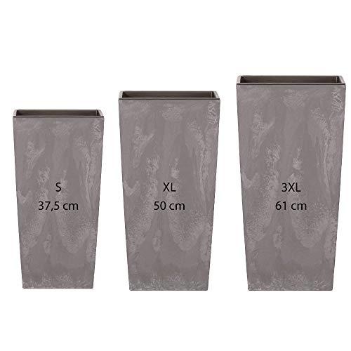 Wellhome Pack 3 macetas Altas Prosperplast (11,4/26,6/49 litros) Urbi Square Effect de plastico en Color Gris Claro con deposito, Grande