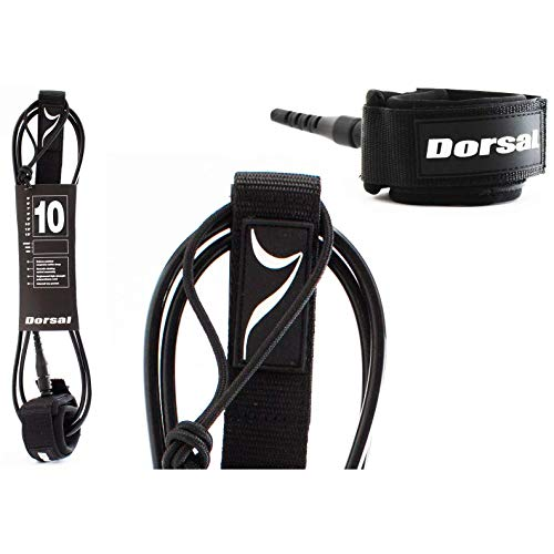 DORSAL Premium ProComp Surfboard 6 7 8 9 10 FT Surf Leash - Black - 7 FT - Black