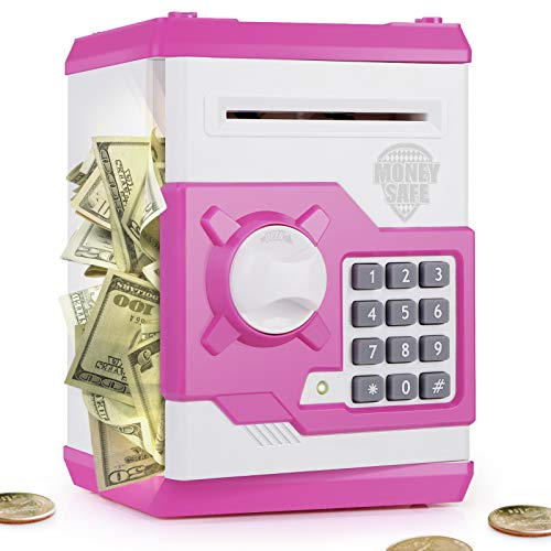 PLAYSHEEK Piggy Bank for Girls Boys Large Electronic Money Coin Banks with Password Protection, Automatic Paper Money Scroll Saving Box, Great Gift for Kids (Pink-White)