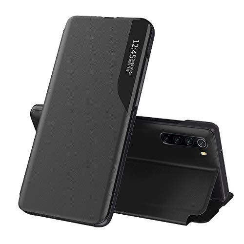 Oihxse Hülle Kompatibel mit Xiaomi Mi 10/Mi 10 Pro View Cover Hülle mit HD-Smart-Window,Booklet Smart View Flip Cover,Leder Intelligenten Wake up-Sleep Klapphülle Transparent Handytasche-schwarz