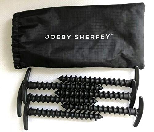 JOEBY SHERFEY Heavy Duty Plastic Stakes Small Tarp Stakes Tent Spikes for Sand, Lawn, Beach Towels Blankets. Compact & Lightweight Tent Pegs with an Anchor (14.5cm Pack of 6. Black Colour)