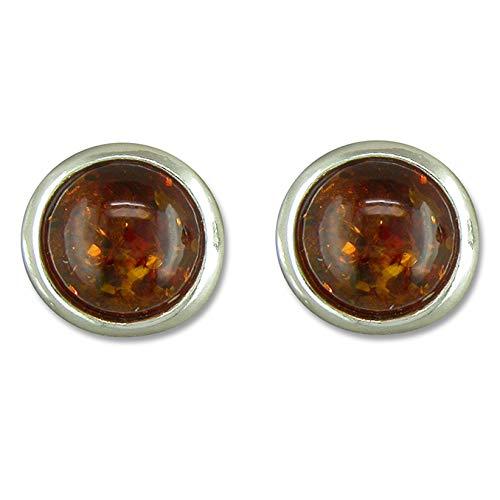 925 Sterling Silver 8mm Round Cognac Amber Stud Earrings