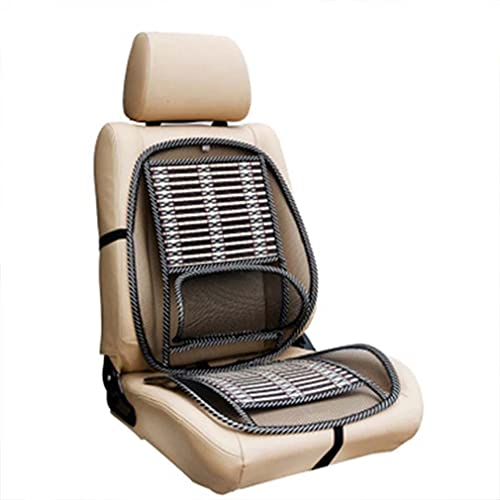 Ergonomic Bamboo Car Seat Pad - Car Seat Office Chair Bamboo Chip Coverfor Car Breathable Cool Black Mesh Support Cushion Pad for Lumbar/Back Pain Relief for All Types Car Seats