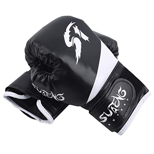 JIFNCR Boxhandschuhe für Kinder Kinder Stanzhandschuhe Trainings Sparring Boxsack Mitt für 3 bis 12 Jahre Trainingshandschuhe Trainingsgeräte,Schwarz
