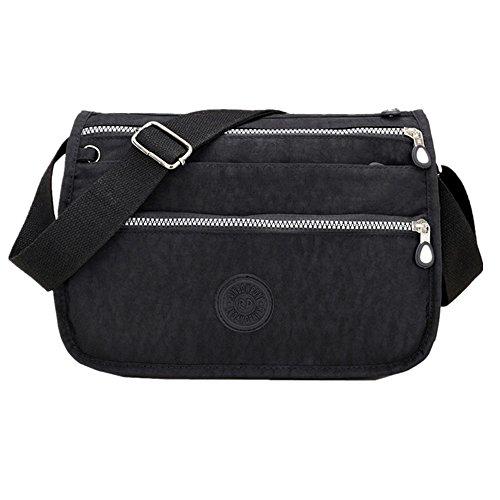 sportliche Tasche Damentasche Handtasche / Schultertasche / Umhängetasche aus Nylon klein (schwarz)