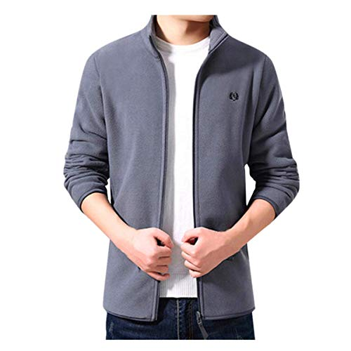 Men's Softshell Jacket, Pure Casual Winter Jacket Standing Collar Jackets Coat Zip Jacket Outwear Jacket