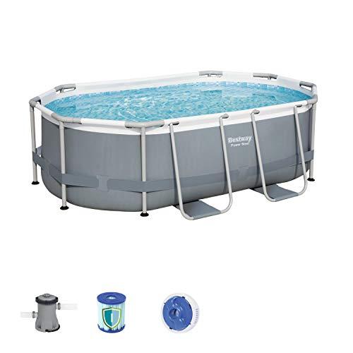 Bestway Comfort Jet 610x366x122 cm, stabiler Frame Pool oval im Komplett Set mit Massagefunktion, inklusive Filterpumpe, Leiter und LED-Licht