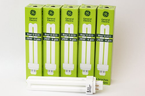 GE Biax D ECO 26W 4 Pin Compact Flourescent Lamp Bulb (5 Pack) F26DBX/835/ECO4P, Fully compatible with: PL-C 26W/835/4P, CCF26DD/E/835, F26DBX/SPX35/4P
