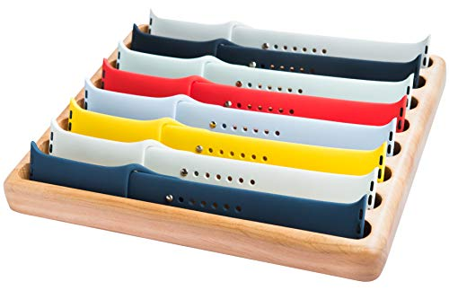 HoldMyBands Storage Compatible with Apple Watch Bands Tray Holder Stand Strap Display Organizer iWatch Portfolio Case Box Dock Station Wood Rack Caddy