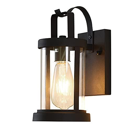 YBright Lámpara de pared al aire libre negro Linterna de entrenador tradicional linterna impermeable iluminación externa iluminación de pared de pared escoce retro edison e27 luz con tono de cristal t