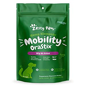Zesty Paws Hip & Joint Mobility Sticks for Dogs – with Hemp Seed, Curcumin, Eggshell Membrane & Taurine – Support for Hips & Joints + Cartilage Health – Proprietary Healthy Teeth & Gum Blend
