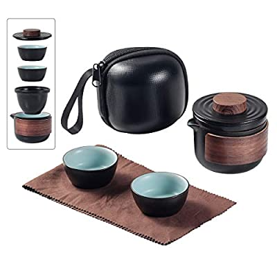 Mini Travel Ceramic Tea Pot Set Chinese Kung Fu Teapot, 1 Pot 2 Cups Porcelain Teacups with Tea Infuser Portable Bag for Outdoor Picnic (Black)