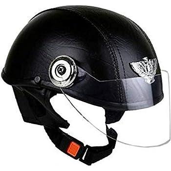 Leather helmet-black-open face