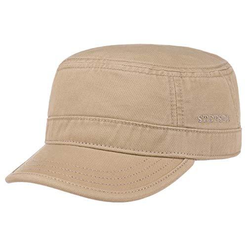 Stetson Stetson Gosper Army Cap Damen/Herren - Urban Armycap aus Baumwolle - Militärcap mit UV-Schutz 40 - Mütze Militär Sommer/Winter Dunkelbeige S (54-55 cm)