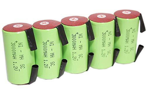 正規容量 国内から発送 22.5x43mm NI-MH Sub-C SC ニッケル水素 ミニ単2 サブC セル エアガン 電動ガン ドライバー ドリル 工具 掃除機 充電池 バッテリー(5)