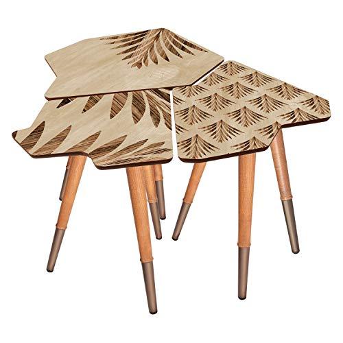 Bandeja de entrada de madera impresa fácil de ensamblar, decoración multiusos de café, mesa auxiliar de madera, juego de 3 (croco)