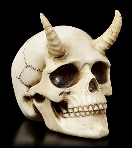 Figuren Shop GmbH Gothic Totenkopf mit Hörner - Teuflischer Dämon | Fantasy Skull, handbemalt