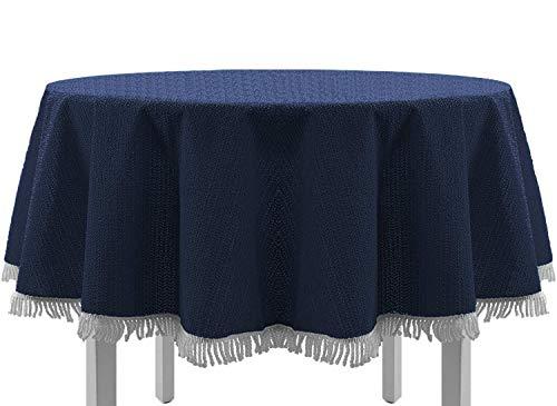 EXKLUSIV HEIMTEXTIL Gartentischdecke mit Fransen Tischdecke rund oval eckig Classic 140x180 cm oval blau