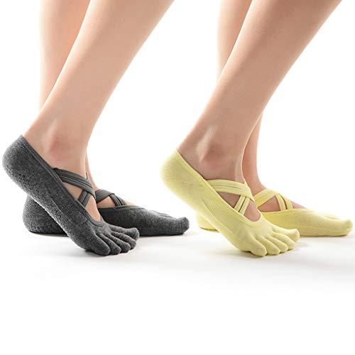 NYKK Calcetines de Invierno Dedo del pie de la Mujer Calcetines 5 Dedos, Ideal for Barre Yoga Pilates Running Walking (Paquete de 2) (Color : A)