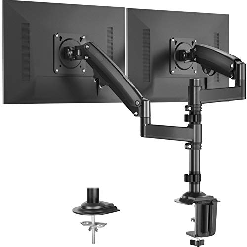 Huanuo Dual Monitor Stand - Height Adjustable Gas Spring Arm Swivel Monitor Desk Mount Fit Two 22 to 32 inch Computer Screen with C Clamp, Grommet Mounting Base, Each Arm Hold 4.4 to 26.5 lbs