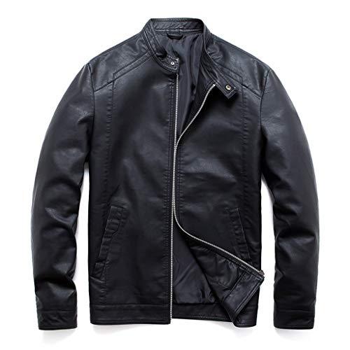 MAYOGO Herren Biker Jacke Motorradjacke Lederjacke Zip Lederjacke Bomberjacke Fliegerjacke Militär Piloten Jacket Outdoor Jacke (Schwarz, XXXL)