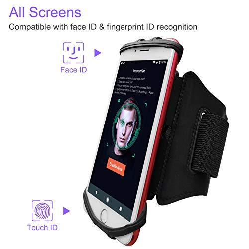 JEMACHE 180° Girevole Fascia Braccio da Corsa per iPhone 11 Pro Max, Xs Max, 11 XR X, iPhone 6 7 8 Plus, Samsung Galaxy S20+ S10+ S9+ S8+, S20 Ultra 5G, Note 10+ 9 8, Google Pixel 4 3 2 XL