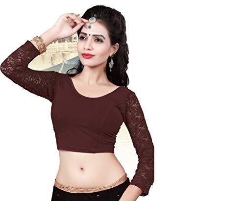 Indianstore24 Indianstore24® Blouse Bluse Saree Bollywood Wedding Hochzeit Sari Kleid Damen Indian ganz Casual Birthday Crop top fertig genäht Readymade gestickt Dehnbar Stretchable Material Women (Dark Chocolate)