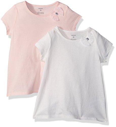 Carter's – Paquete de 2 Camisetas de Lazo para niñas, Blanco/Rosa Claro, 4 Años