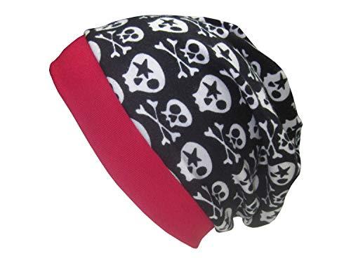 Beanie mit Sculls auf schwarz, Bündchen rot, Kopfumfang 48-50 cm, 95% Baumwolle, 5% Elasthan