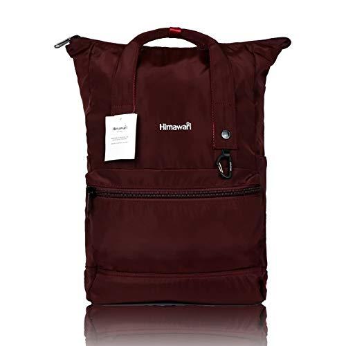 Himawari - Mochila escolar para ordenador de 15 pulgadas, portátil, para escuela, bolsos informales, retro, viajes, senderismo, mochila multifuncional, gran capacidad (rojo)