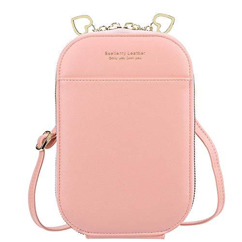 Bolsa para teléfono móvil versión coreana femenina de la cremallera de gran capacidad, bolso cruzado de cuerpo entero para mujer, todo fósforo, color caramelo, billetera rosa