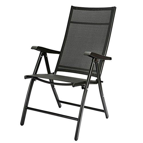 FEIFEI Fauteuils inclinables Chaise longue rembourrée Chaise pliante Maison Déjeuner Pause Chaise Chaise de bureau Balcon Sieste Chaise Chaise de plage Chaise de loisirs Pliant (Couleur : Noir)