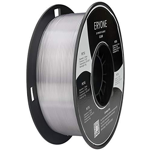 Filamento ERYONE PETG 1,75 mm, filamento PETG para impresora 3D, +/- 0,03 mm, 1 kg / bobina,Transparente