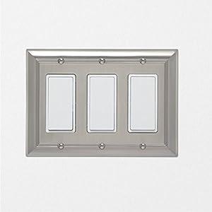 AmazonBasics Triple Gang Light Switch Wall Plate, Satin Nickel, 1-Pack