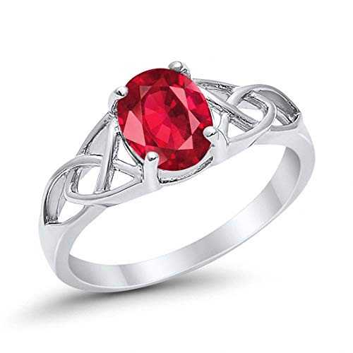 Blue Apple Co. Celtic Accent Solitaire Ring Oval Simulated Ruby 925 Sterling Silver, Size-12