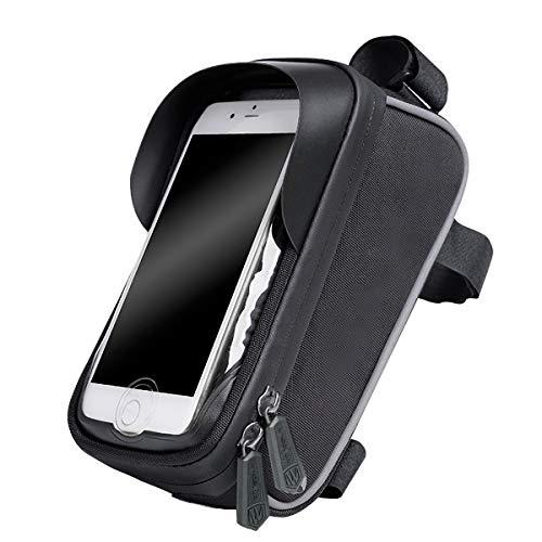 FEXAIX Bolsa de Bicicleta, Impermeable Bolsa Movil Bici con Ventana para Pantalla Táctil para Bolsa Cuadro Bicicleta Montaña