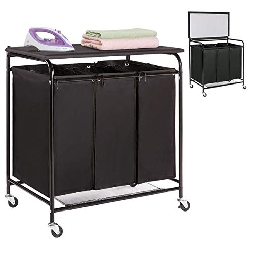 HollyHOME Laundry Sorter Cart with Foldable Ironing Board with Removable 3 Bags Laundry Hamper Sorter Black