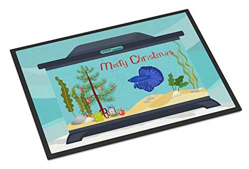 Caroline's Treasures CK4532MAT Super Delta Tail Betta Merry Christmas Indoor or Outdoor Mat 18x27, 18H X 27W, Multicolor