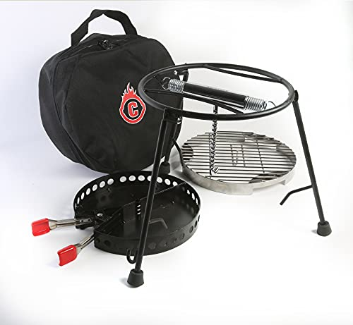 CampMaid Grill and Smoker with Carry Bag - Dutch Oven Tools Set - Charcoal Holder & Cast Iron Grill Accessory - Camping Grill Set - Outdoor Cooking Essentials - Camp Kitchen Equipment - (3 Piece Set)