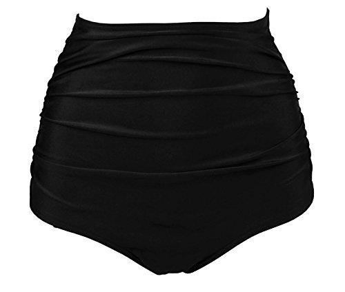 COCOSHIP Solid Black Retro High Waisted Bikini Bottom Ruched Shirred Swim Brief Short Swimwear XL(US10)