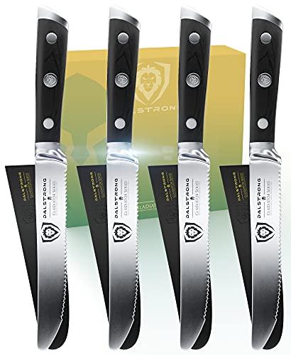 DALSTRONG Steak Knives - Set of 4 - 5' Serrated-Edge Blade - Gladiator Series - Forged German ThyssenKrupp HC Steel - Black G10 Garolite Handle - Sheaths Included - NSF Certified